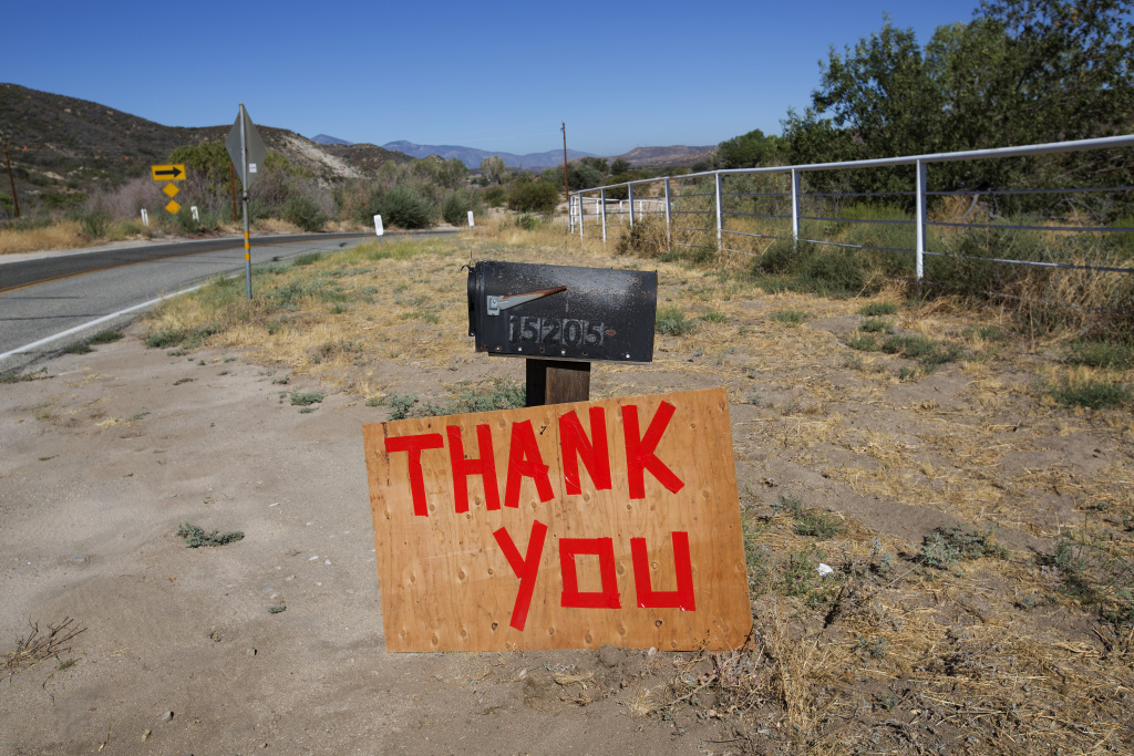 A message of thanks left on highway 173 for the fire fighting crews working on the Pilot Fire in California on August 9th, 2016.
