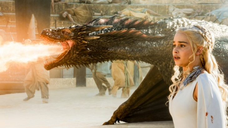 Daenerys Targaryen and her dragon, Drogon, from