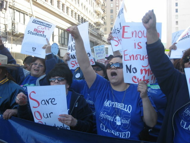 File photo: Protestors gathered on March 4, 2010, in downtown Los Angeles to rally against cuts to public schools and universities in the midst of the recession. Now educators anticipate significant new funding when Gov. Jerry Brown releases his revised budget on Thursday.