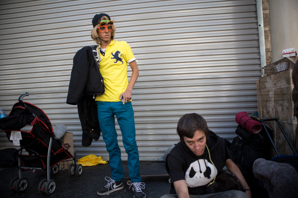 Ryan Brower and Dillion Hughes stand outside a McDonald's in Hollywood, Calif. after taking the Homeless Count census.
