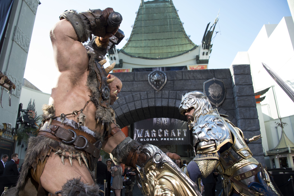 Statues are seen in front of the Chinese Theater during the premiere of