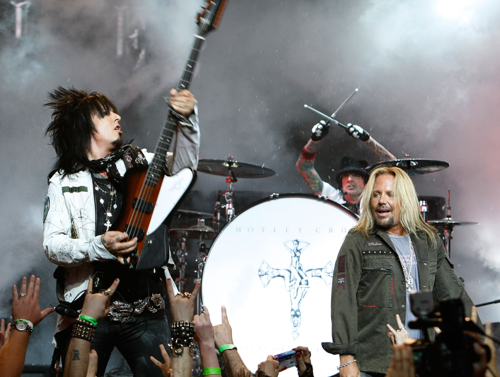 (L-R) Nikki Sixx, Tommy Lee and singer Vince Neil of Motley Crue perform during a press conference announcing Crue Fest 2008 at Avalon Hollywood on April 15, 2008 in Los Angeles.