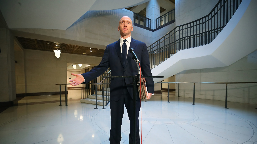 Carter Page, former foreign policy adviser for the Trump campaign, speaks to the media after testifying before the House intelligence committee on Nov. 2, 2017.