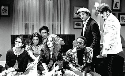 "SNL's first ""Not Ready for Prime Time Players"" -- Gilda Radner, Jane Curtin, Chevy Chase, Laraine Newman, Garrett Morris, John Belushi and Dan Aykroyd."