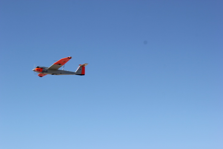 The RS-16 is brought in at low altitude before landing.