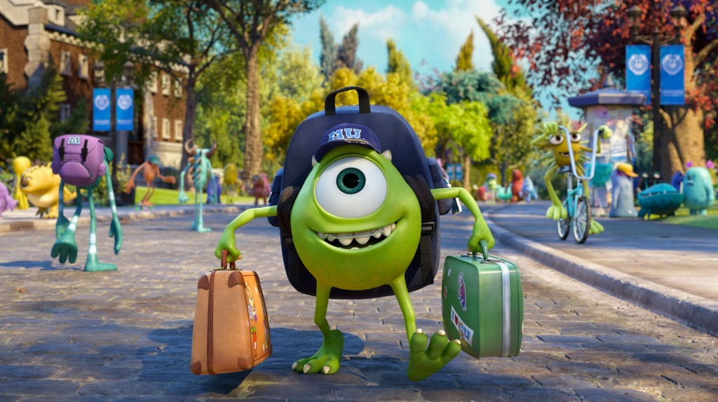 Mike Wazowski, voiced by Billy Crystal, goes to college with high hopes of graduating as a top-notch scarer.