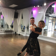 "Michelle Dalton Tyree (r) learns steps from the film ""La La Land,"" as taught by Julz Tocker of Just Dance in Studio City."