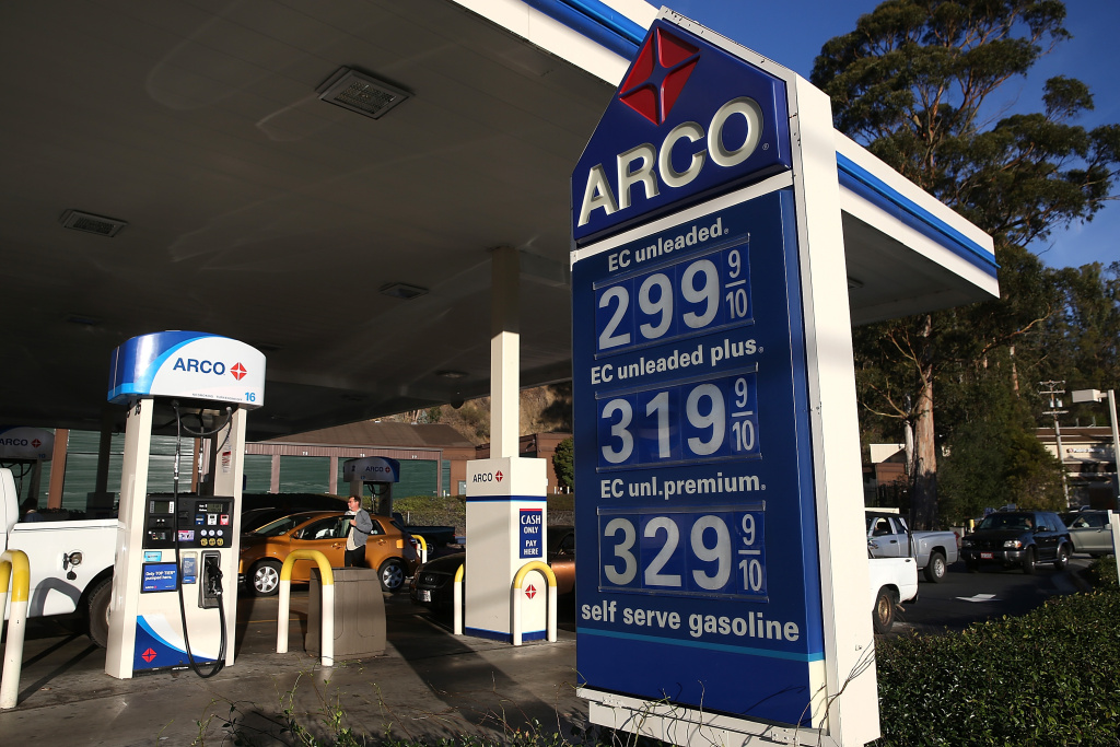 File: Gas prices are displayed at an Arco gas station on Oct. 27, 2014 in Mill Valley, California.