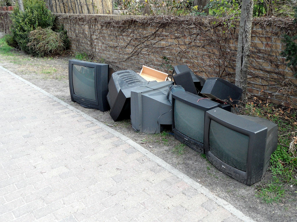 It's almost like this pack of abandoned television sets, including cathode-ray tube models, is waiting for a ride somewhere. In California, e-waste recyclers can't sell old TV glass, so it's got nowhere to go.