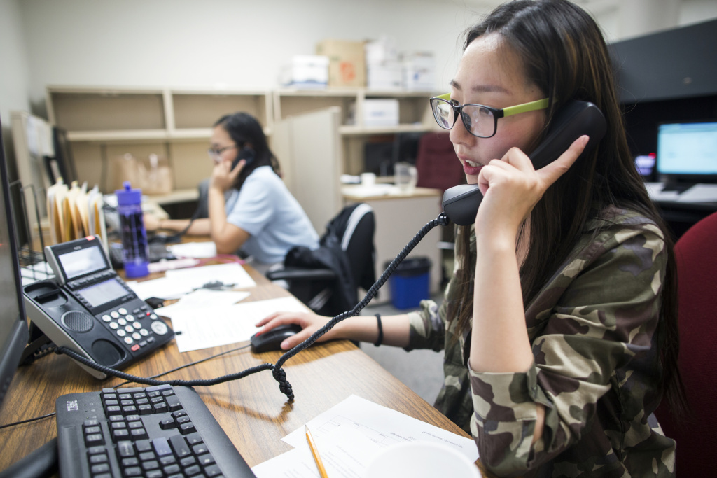 Volunteers for Asian Americans Advancing Justice Los Angeles operate a 2016 phone bank.