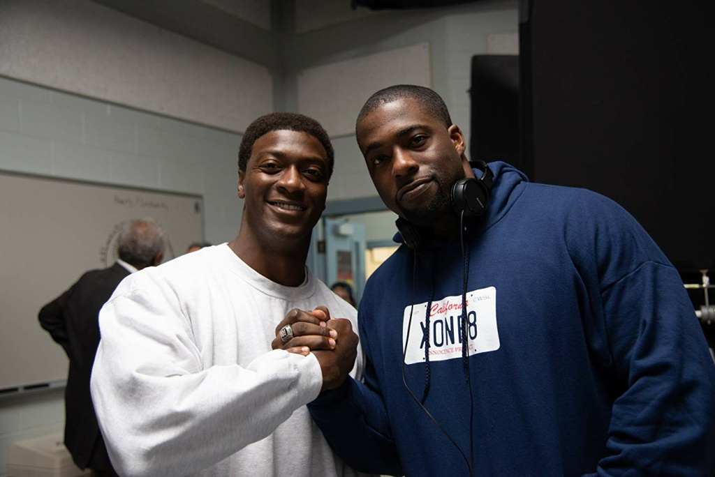 Actor Aldis Hodge (left) and the real life Brian Banks (right) on the set of Tom Shadyac's