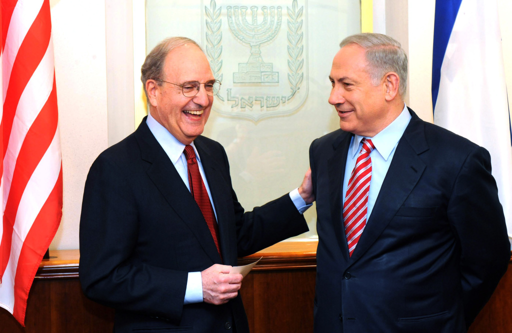 In this handout image supplied by the Israeli Government Press Office (GPO), Israel's Prime Minister Benjamin Netanyahu (R) meets with U.S envoy George Mitchell.