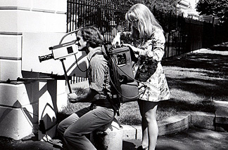 Earl Higgins and Nancy J. Rigg at the White House in 1975 shooting a documentary about the press corps.
