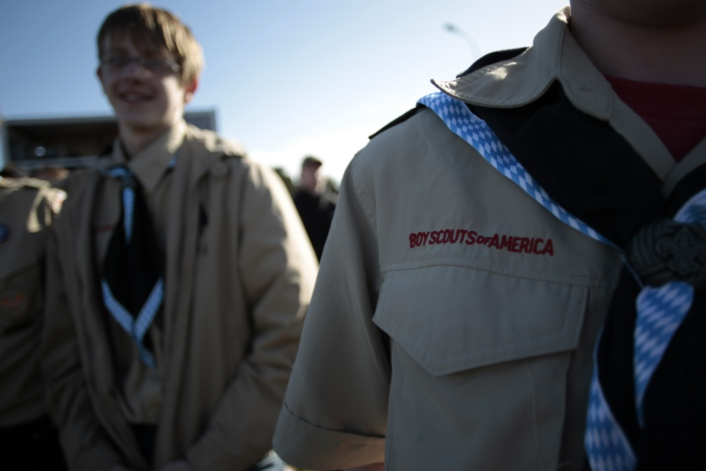US and European boy scouts gather near Omaha Beach on April 26, 2014 in Saint-Laurent-sur-Mer, to support the D Day beaches candidacy to become a Unesco World Heritage Site.