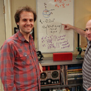 "David Saltzberg, right, hosts his ""Geek Of The Week,"" UCLA student Andrew Peck."