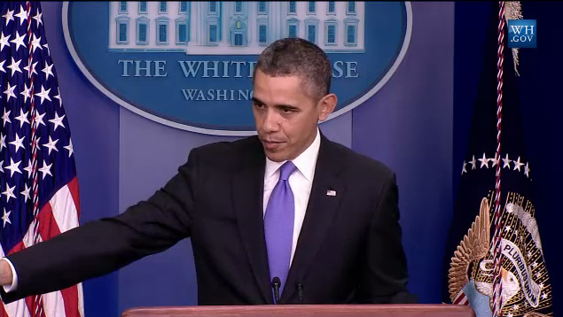 President Obama speaks to reporters Friday, Dec. 20, 2013 during a year-end press conference at the White House.