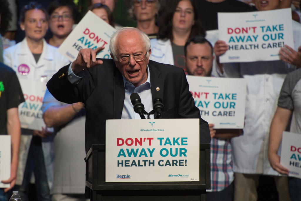 Bernie Sanders speaks during a Stop Trumpcare emergency rally with MoveOn.org at Express Live on June 25, 2017 in Columbus, Ohio.