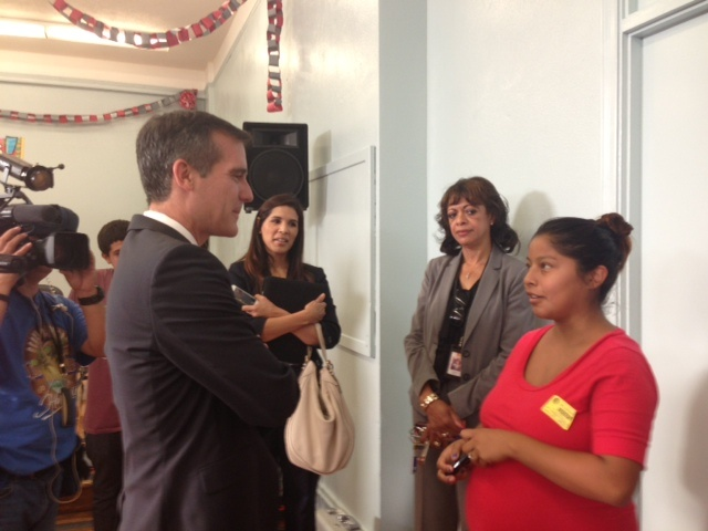 Mayor Eric Garcetti visited Fremont High School as part of LAUSD's Student Recovery Day.