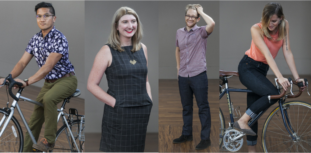 KPCC staffers (l-r) Leo Duran, Maura Walz, Jacob Margolis and Tracey Molineux all trying on pants and dresses designed for biking and regular life.