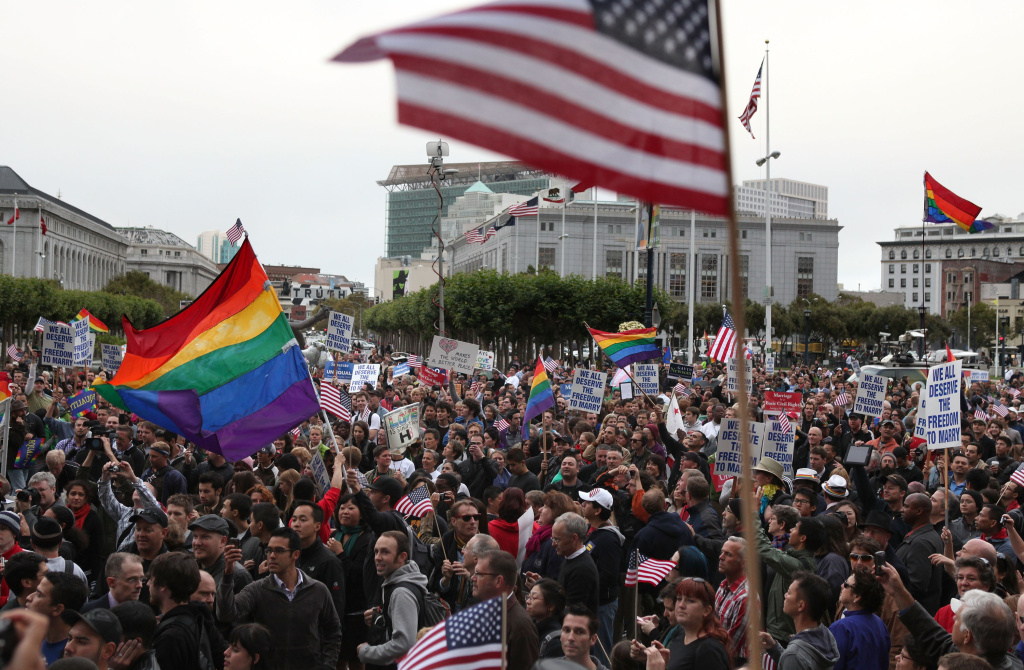 Hundreds of Proposition 8 opponents fill Civic Center Plaza during a rally to celebrate the ruling to overturn Proposition 8 Aug. 4, 2010, in San Francisco, Calif.