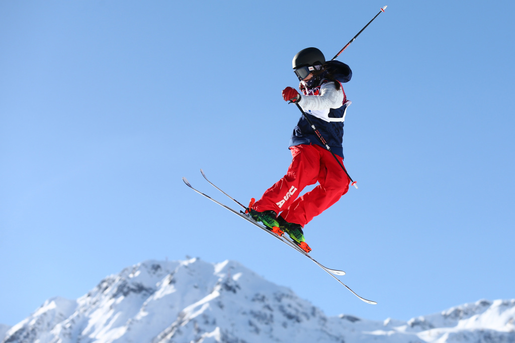 Devin Logan practices during a ski slopestyle training session in Sochi on Friday. She says she doesn't stress about competing, even on a course that some have called dangerous.
