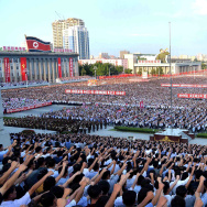 This picture taken on August 9, 2017 and released by North Korea's official Korean Central News Agency (KCNA) on August 10, 2017 shows a rally in support of North Korea's stance against the US, on Kim Il-Sung square in Pyongyang.