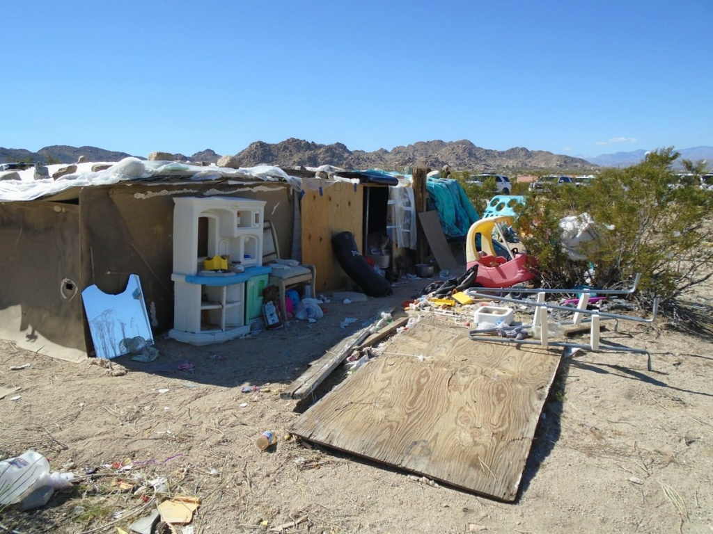 This handout photograph obtained March 1, 2018 courtesy of the San Bernardino County Sheriff's Department, Morongo Basin Station, shows the area in Joshua Tree, California where a couple were allegedly living with their three children inside a box for four years.