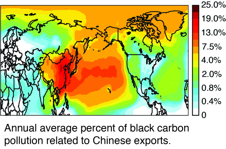 A study from Chinese and UC Irvine scientists indicates that air pollution drifts to the west coast of the U.S. from China manufacturing plants pumping out goods exported to the U.S.