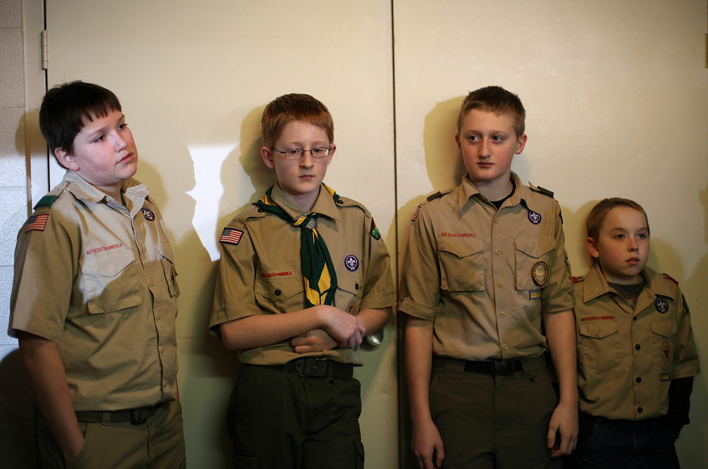 A group of Boy Scouts look on at the Park Place Hotel in Traverse City, Michigan.
