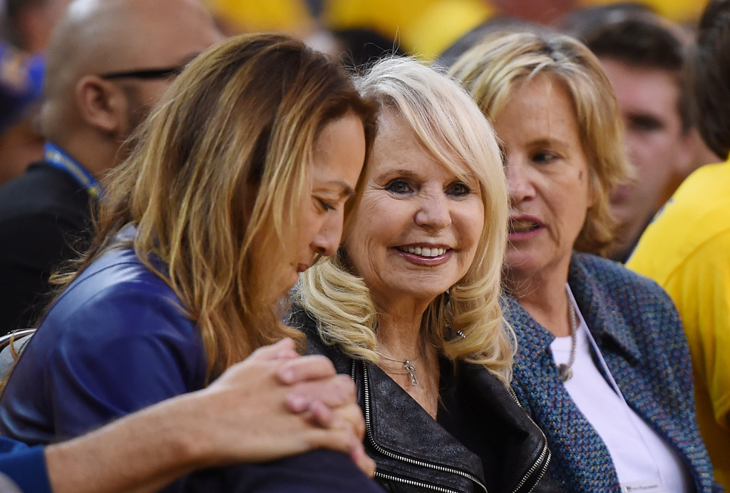 Shelly Sterling, the wife of Donald Sterling owner of the Los Angeles Clippers, watches the Clippers against the Golden State Warriors in Game Four of the Western Conference Quarterfinals during the 2014 NBA Playoffs in Oakland, California.