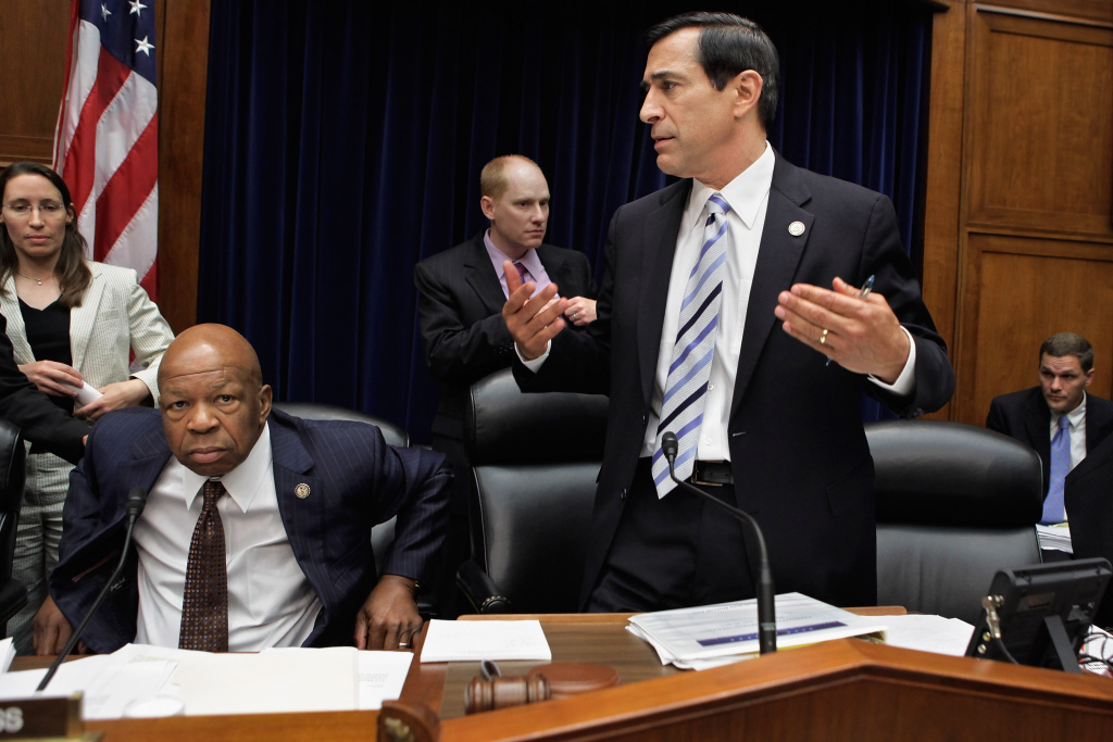 House Oversight and Government Reform Chairman Darrell Issa (R-CA) (2nd R) and ranking member U.S. Rep. Elijah Cummings (D-MD) (2nd L) stand after a five-hour mark up hearing on Capitol Hill June 20, 2012 in Washington, DC. Issa and the committee Republicans voted to hold U.S. Attorney General Eric Holder in contempt of Congress for refusing to hand over documents the GOP says are key to their investigation into the failed Fast and Furious operation. Before the start of the hearing, the White House asserted the documents are protected by executive privilege.