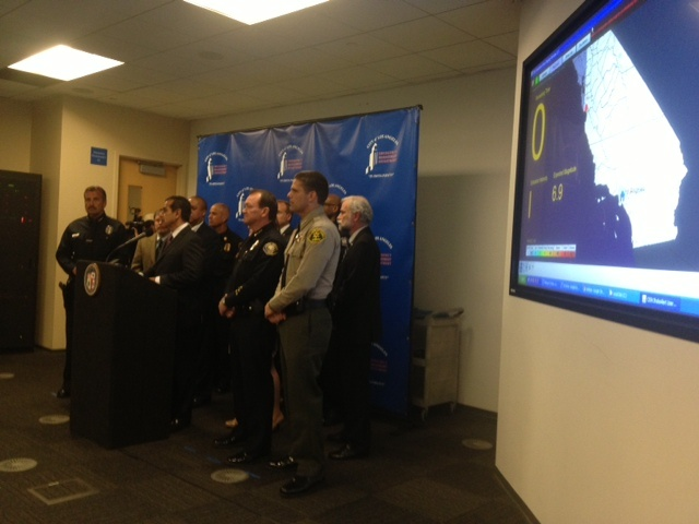 Emergency response chiefs announce $5 million federal grant to build an earthquake early warning system. Photo credit: Erika Aguilar/KPCC
