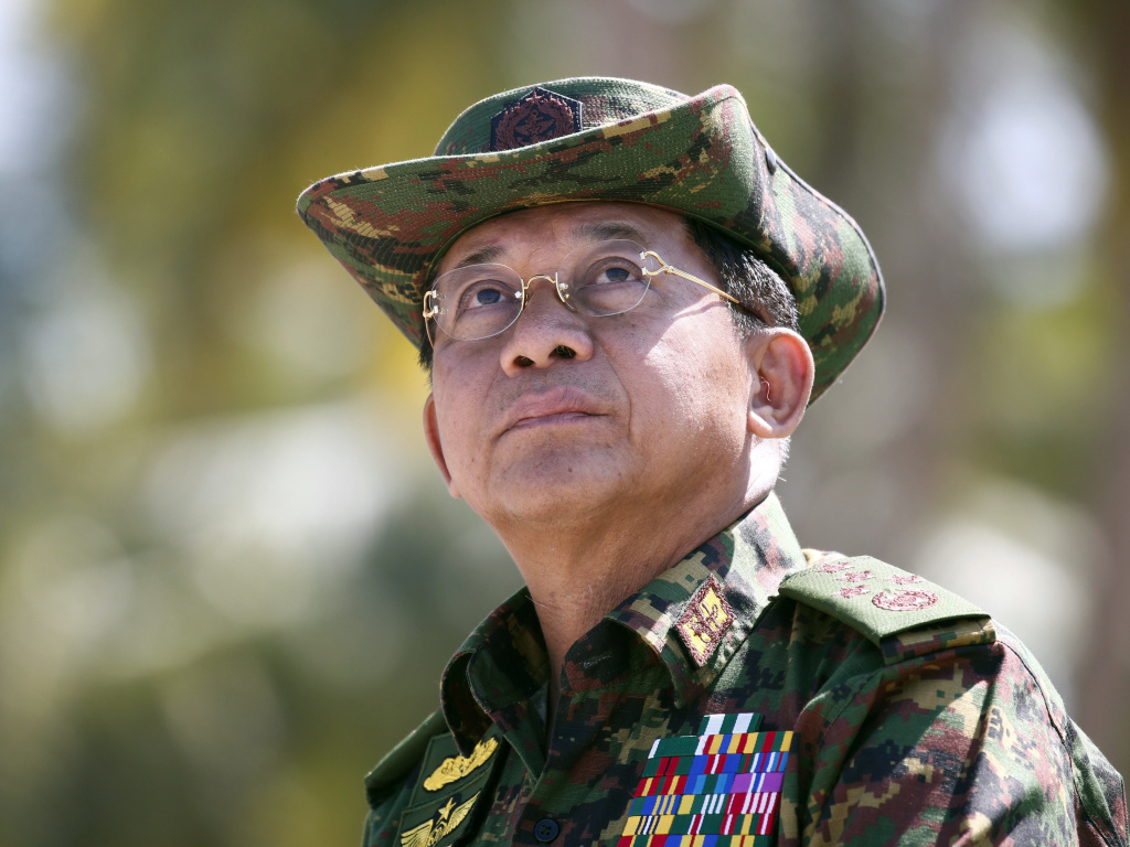 The senior Myanmar military leaders sanctioned by the U.S. include commander-in-chief Min Aung Hlaing, shown here as he delivered a speech last year.