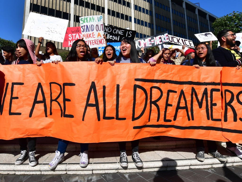 Students and supporters of Deferred Action for Childhood Arrivals (DACA) rallied in downtown Los Angeles in November 2019 as the U.S. Supreme Court heard arguments on the program. The court's ruling today will uphold DACA for now.