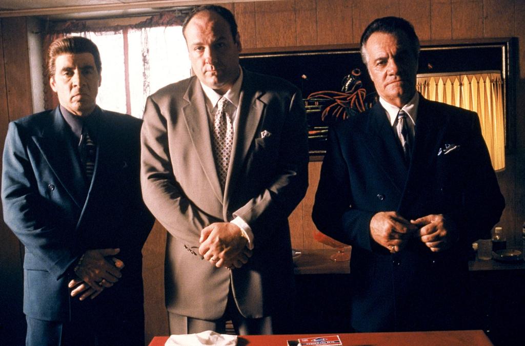From left to right: Steven Van Zandt as Silvio Dante, James Gandolfini as Tony Soprano and Tony Sirico as Paulie Walnuts star in HBO's hit television series,