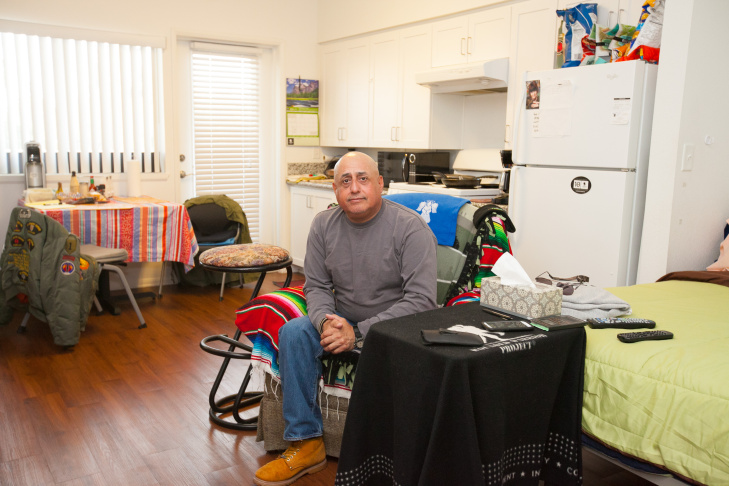 Richard Hernandez has been a resident of Veterans Village for a year, after spending 18 years on the streets in Echo Park. He credits having a home base with helping him reunite with his family and being back in their lives. Before becoming homeless, Hernandez had served in the U.S Army for 10 years.