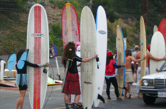 Decked-out surfers gear up for last year's Doo Dah Surf!