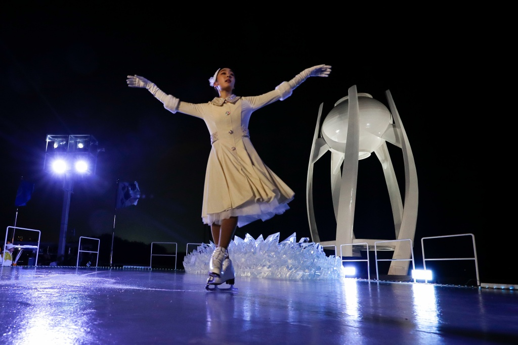 South Korean figure skater Kim Yu-na performs during the Opening Ceremony of the Pyeongchang 2018 Winter Olympics on February 9, 2018.