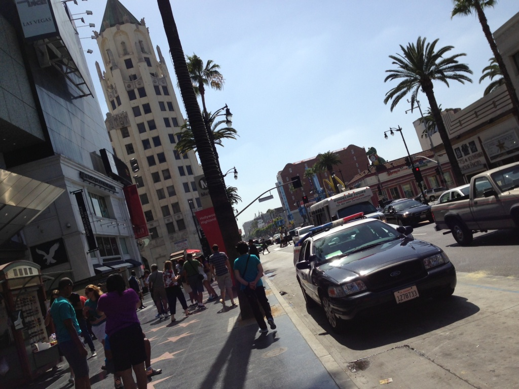 AN LAPD patrol car on Hollywood Boulevard.