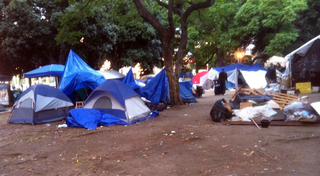 Occupy LA encampment the morning after Mayor Villaraigosa's eviction order went into effect.