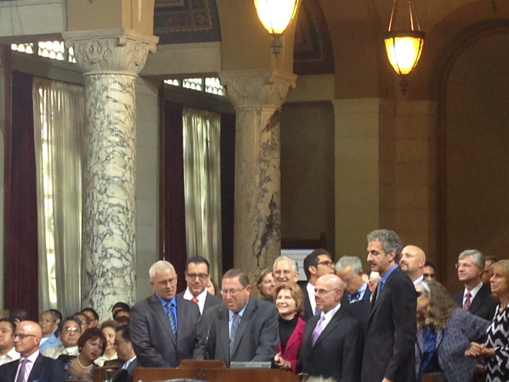 Los Angeles City Councilman Mike Bonin, Bob Blumenfield and Paul Koretz and City Attorney Mike Feuer recognize Rep. Henry Waxman's 40 years in Congress.