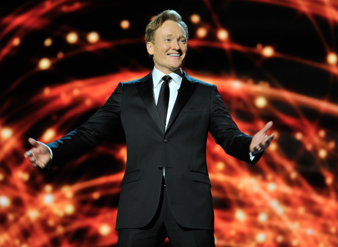 Conan O'Brien is a presenter at the 2014 Breakthrough Prizes Awarded in Fundamental Physics and Life Sciences Ceremony at NASA Ames Research Center on Dec. 12, 2013 in Mountain View, California.