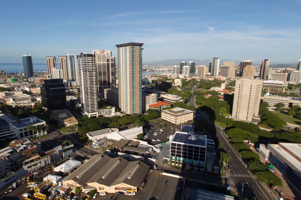 A morning view of the city of Honolulu, Hawaii is seen on January 13, 2018. Social media ignited on after apparent screenshots of cell phone emergency alerts warning of a