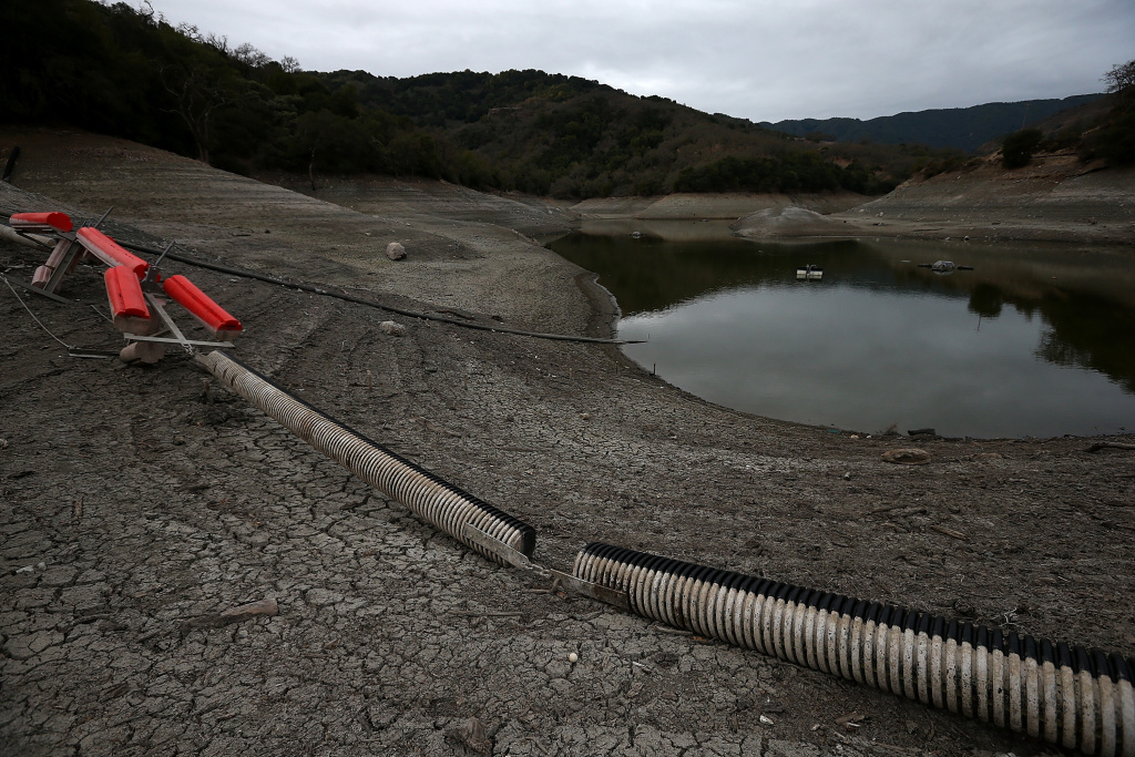 A debris boom sits on the banks of the Almaden Reservoir  on January 28, 2014 in San Jose, California. Now in its third straight year of drought conditions, California is experiencing its driest year on record, dating back 119 years, and reservoirs throughout the state have low water levels. Santa Clara County reservoirs are at 3 percent of capacity or lower. California Gov. Jerry Brown officially declared a drought emergency to speed up assistance to local governments, streamline water transfers and potentially ease environmental protection requirements for dam releases.