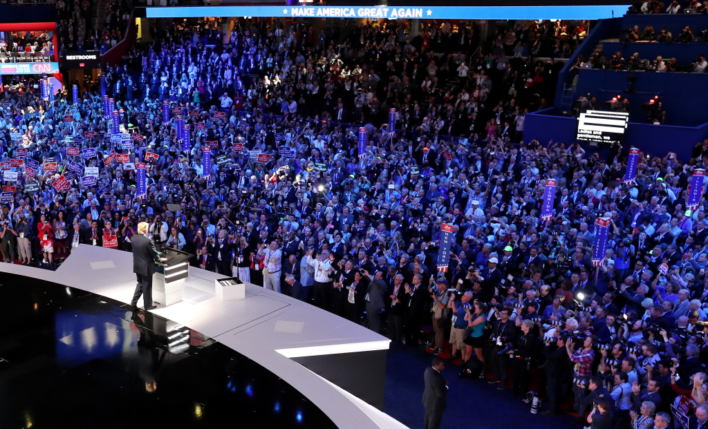 Presumptive Republican presidential nominee Donald Trump introduces his wife Melania on the first day of the Republican National Convention on July 18, 2016 at the Quicken Loans Arena in Cleveland, Ohio.