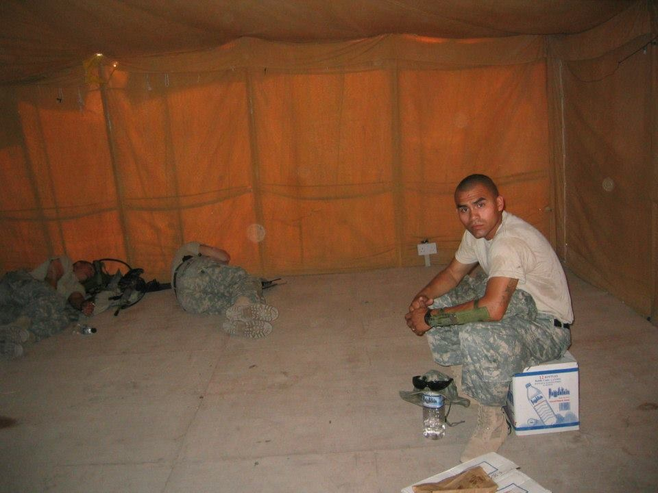 Jesus Medina at an Army base in Kuwait in 2005, waiting to deploy to Mosul, Iraq.