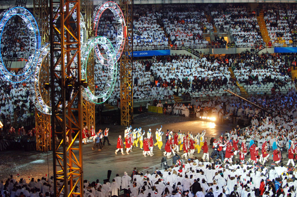 Delegations gather during the Closing Ceremony of the 2006 Winter Olympics in Turin, Italy, Feb. 26, 2006.