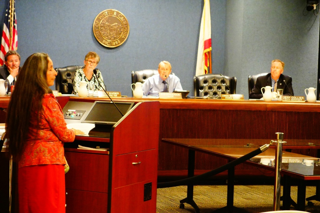 Patricia Lopez addresses the Whittier City Council in support of changing at-large elections to a district election format.