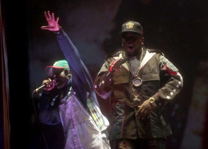 Rappers Andre 3000 (L) and Big Boi of OutKast perform onstage during day 1 of the 2014 Coachella Valley Music & Arts Festival at the Empire Polo Club on April 11, 2014 in Indio, California.