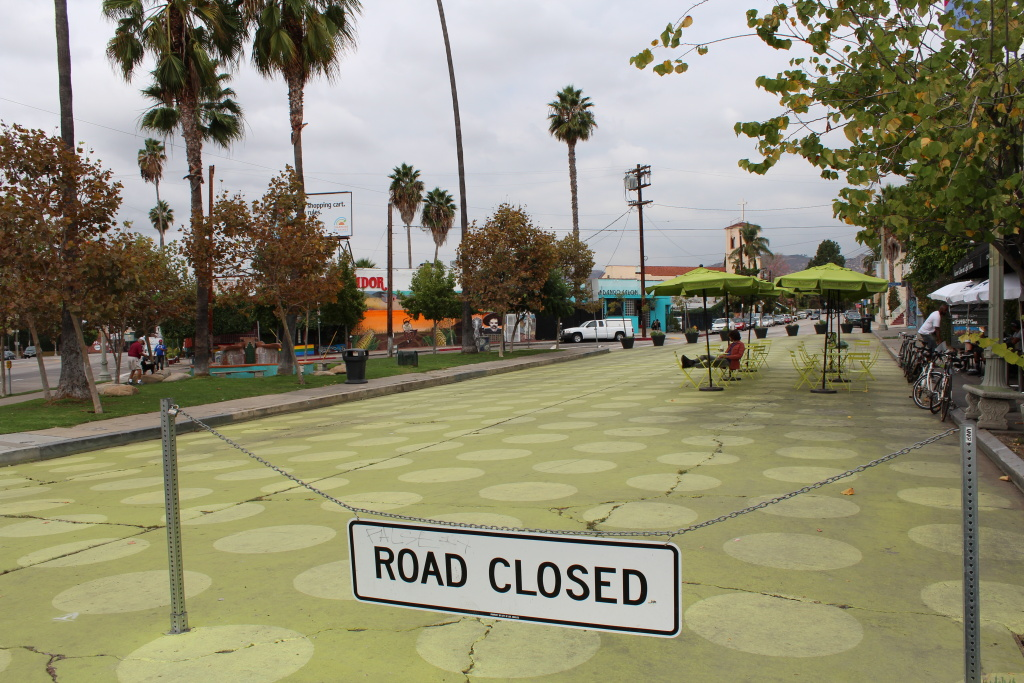 This section of Griffith Park Drive in Silver Lake has been blocked off to traffic to create a pedestrian plaza. The Los Angeles Department of Transportation is taking applications from community groups that want something similar in their neighborhoods.